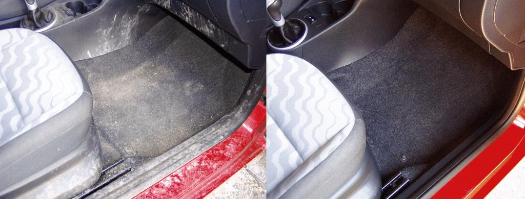 Čištění interiéru auta - vlevo původní stav, vpravo po vyčištění