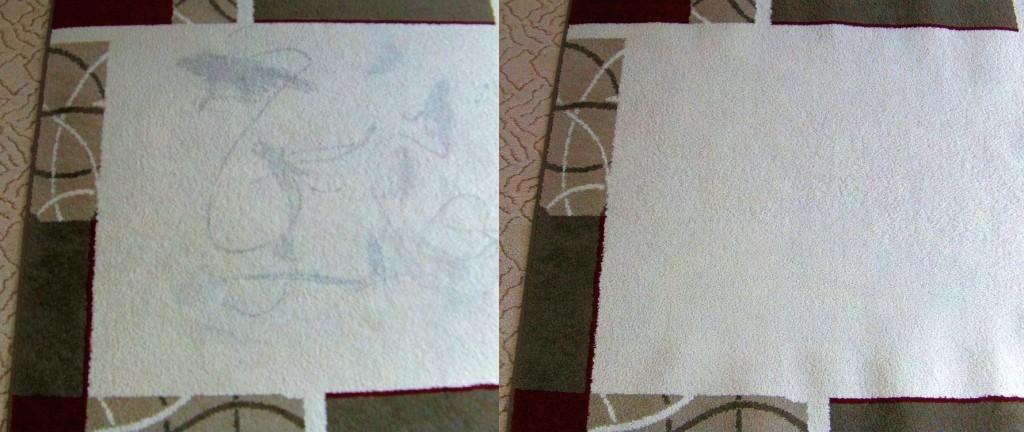 Čištění koberce | Doubravník - vlevo původní stav, vpravo po vyčištění
