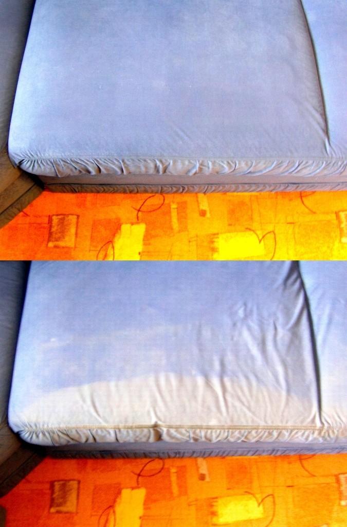 Čištění čalounění sedačky | Kuřim - dole původní stav, nahoře po vyčištění