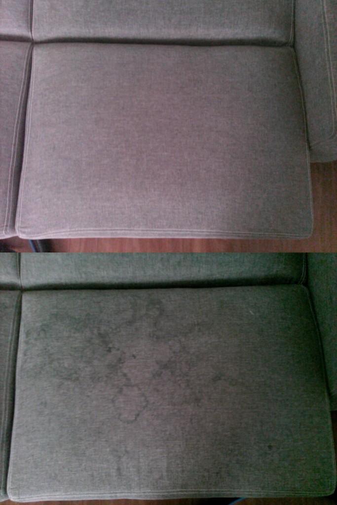 Čištění sedačky | Malhostovice - dole původní stav, nahoře po vyčištění