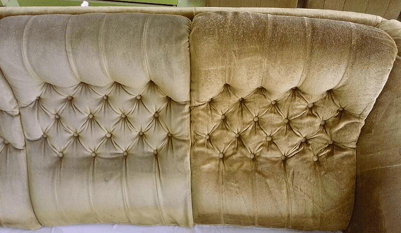 Čištění sedačky | Pernštejnské Jestřabí - vlevo původní stav, vpravo po vyčištění