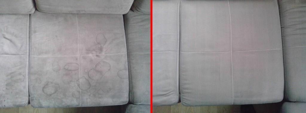 Čištění sedačky | Tišnov - vlevo původní stav, vpravo po vyčištění