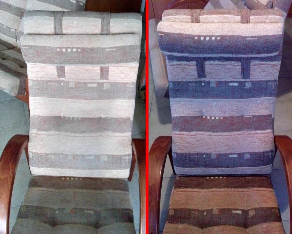 Čištění křesla a dvojkřesla | Boskovice - vlevo původní stav, vpravo po vyčištění