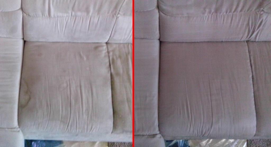 Čištění sedačky | Křeptov - vlevo původní stav, vpravo po vyčištění