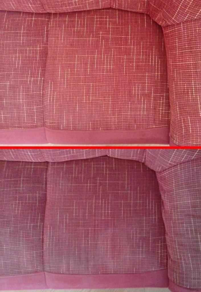 Čištění sedačky | Bořitov - dole původní stav, nahoře po vyčištění