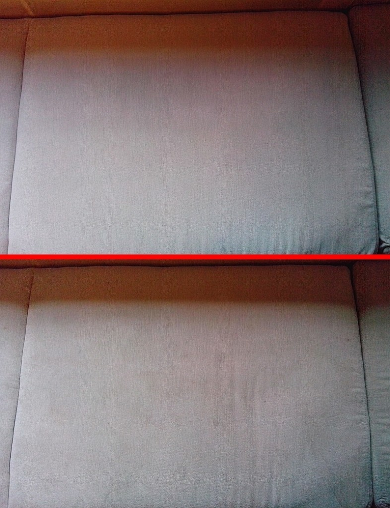 Čištění sedačky | Svatoslav - dole původní stav, nahoře po vyčištění