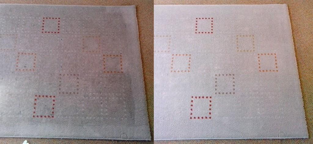 Čištění koberce | Tišnov - vlevo původní stav, vpravo po vyčištění