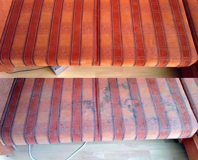 Čištění sedačky - dole původní stav, nahoře po vyčištění