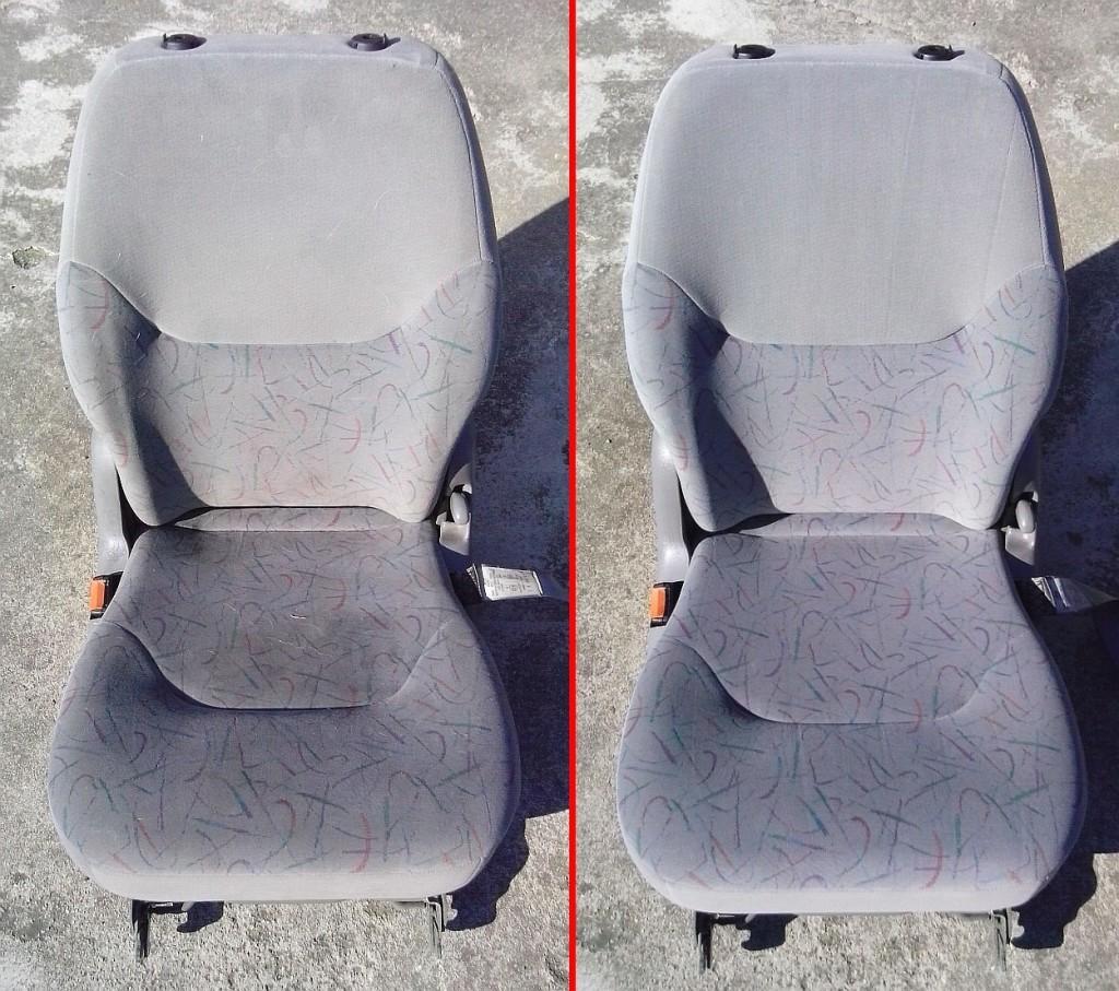 Čištění autosedačky | Kuřim - vlevo původní stav, vpravo po vyčištění