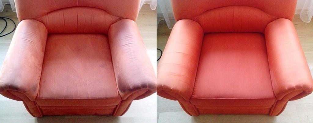 Čištění křesla | Boskovice - vlevo původní stav, vpravo po vyčištění