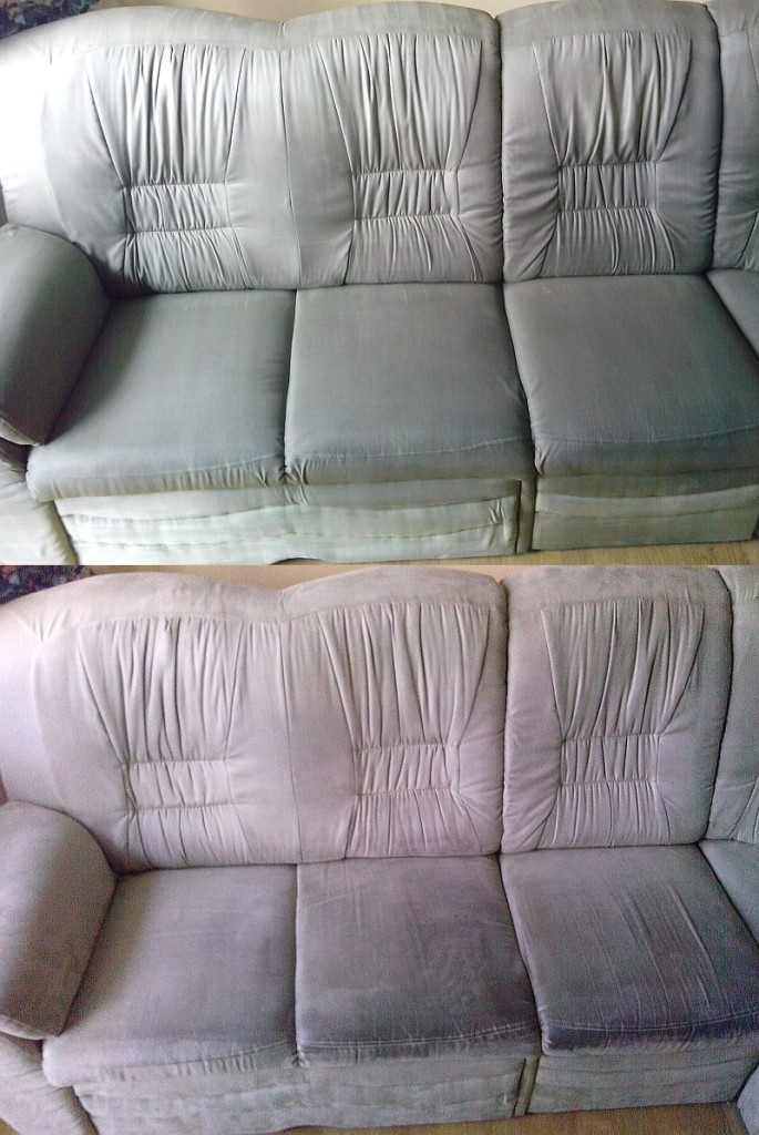 Čištění sedačky | Kuřim - dole původní stav, nahoře po vyčištění