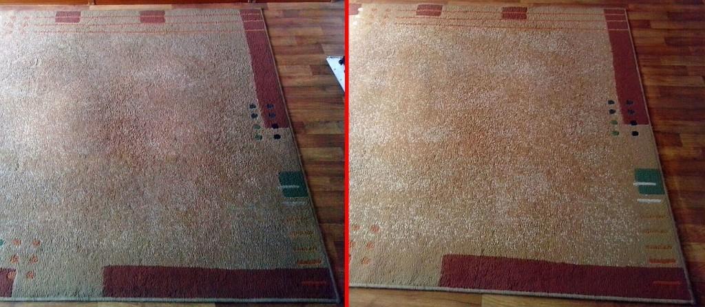 Čištění koberce | Vlkov - vlevo původní stav, vpravo po vyčištění