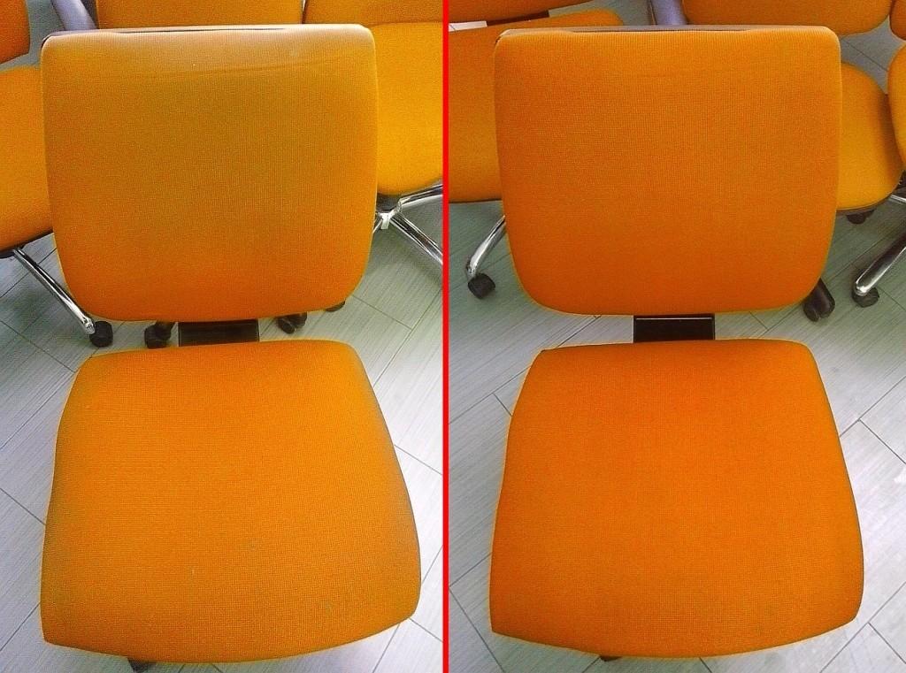 Čištění kancelářských židlí | Tišnov - vlevo původní stav, vpravo po vyčištění