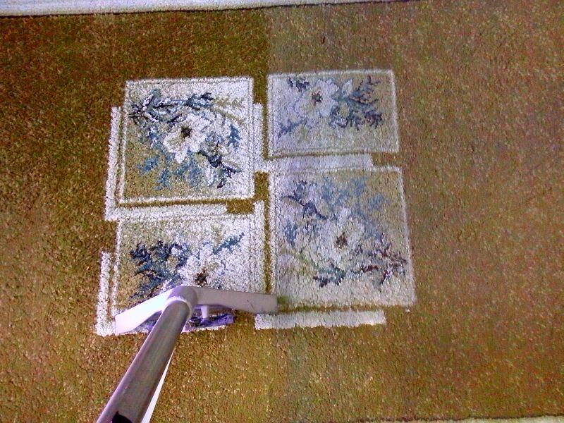 Čištění koberce | Níhov - vlevo po vyčištění, vpravo původní stav