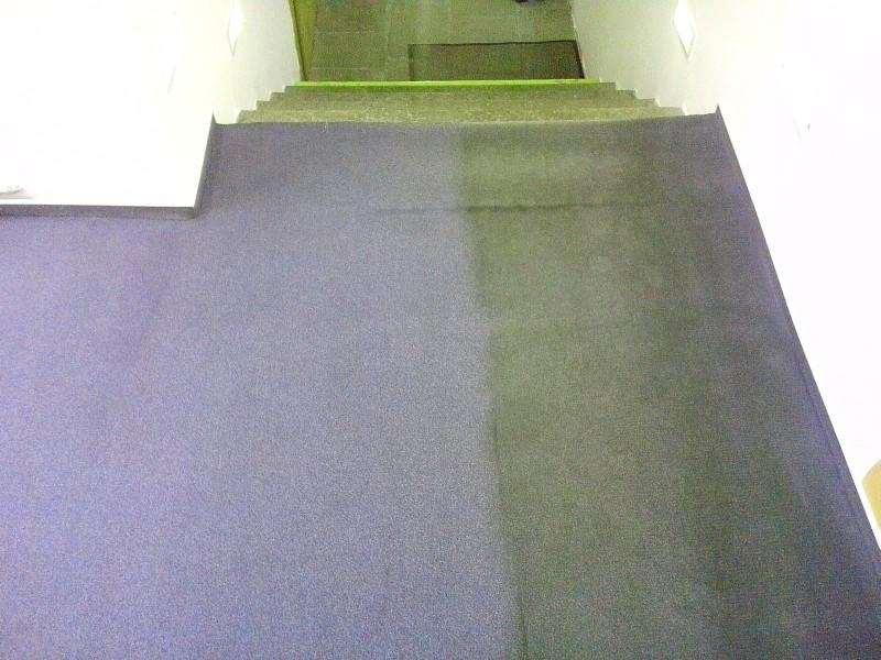 Čištění koberce - vlevo po vyčištění, vpravo původní stav