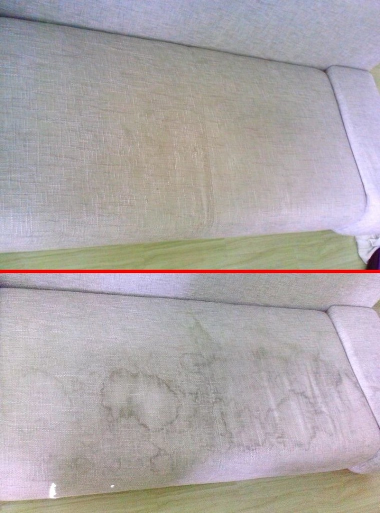 Čištění sedačky | Rozsochy - dole původní stav, nahoře po vyčištění