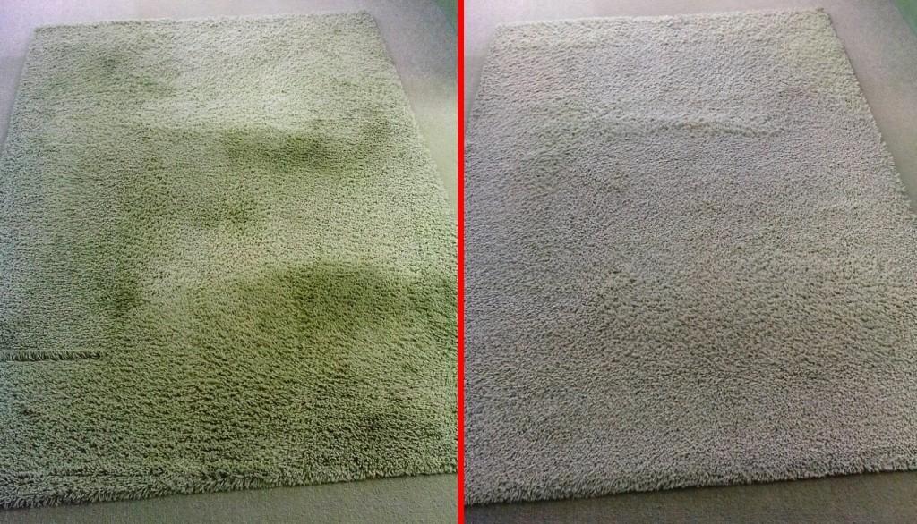 Čištění shaggy koberce | Blansko - vlevo původní stav, vpravo po vyčištění