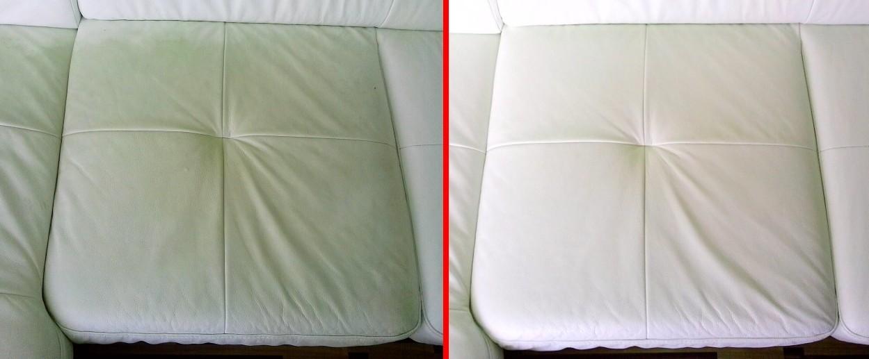 Čištění kožené sedačky - vlevo původní stav, vpravo po vyčištění
