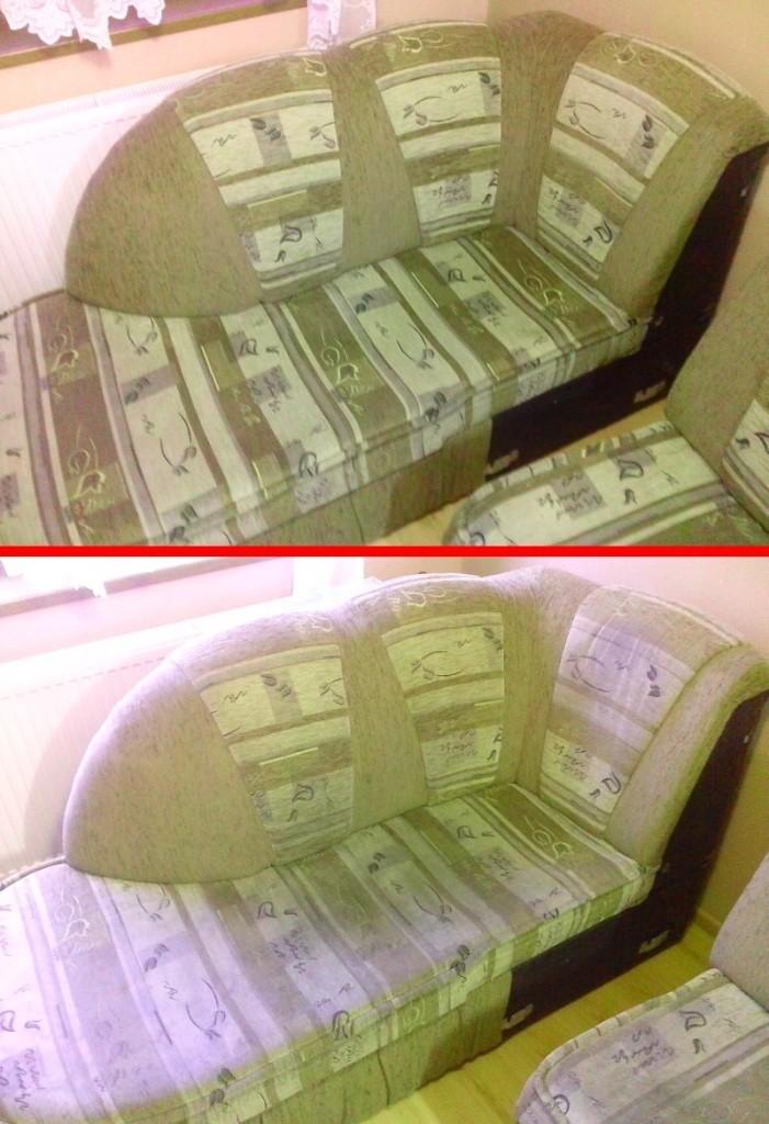 Čištění sedačky | Olešnice - dole původní stav, nahoře po vyčištění
