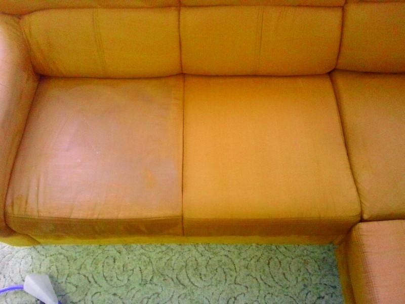 Čištění sedačky | Dolní Loučky - vlevo původní stav, vpravo po vyčištění