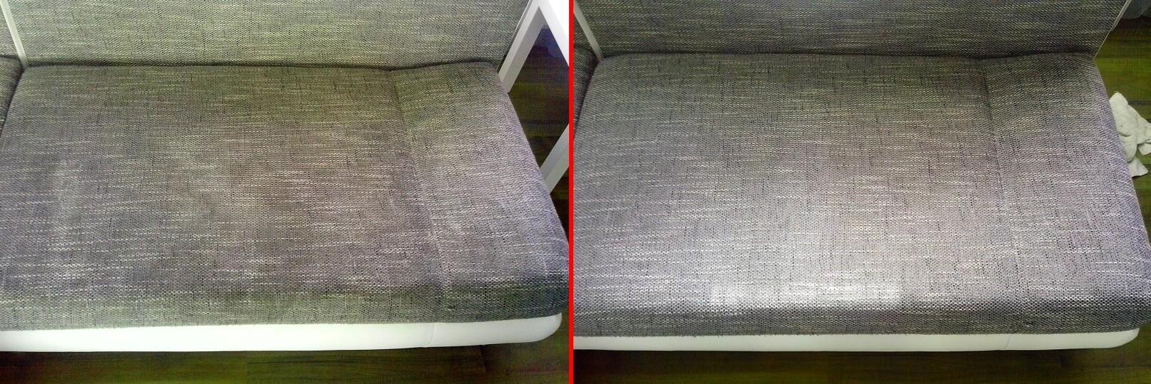 Čištění sedačky | Klokočí - vlevo původní stav, vpravo po vyčištění